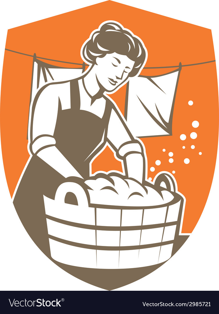 Housewife washing laundry vintage retro vector | Price: 1 Credit (USD $1)