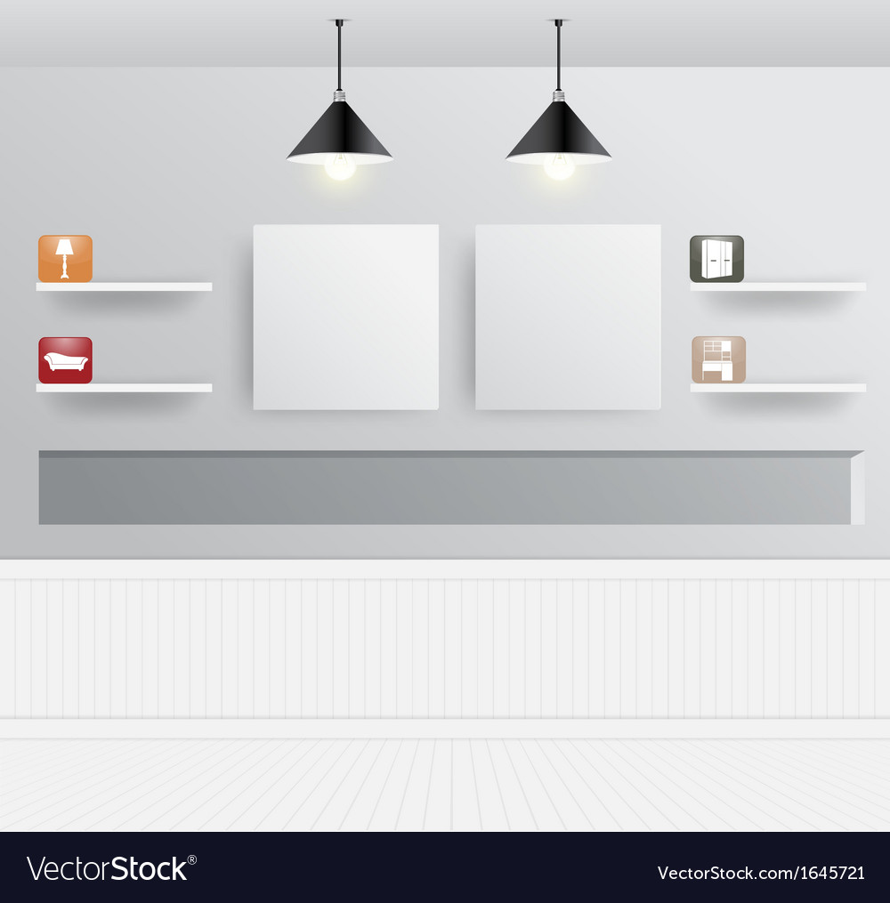 Interior design with home furniture icons vector | Price: 1 Credit (USD $1)