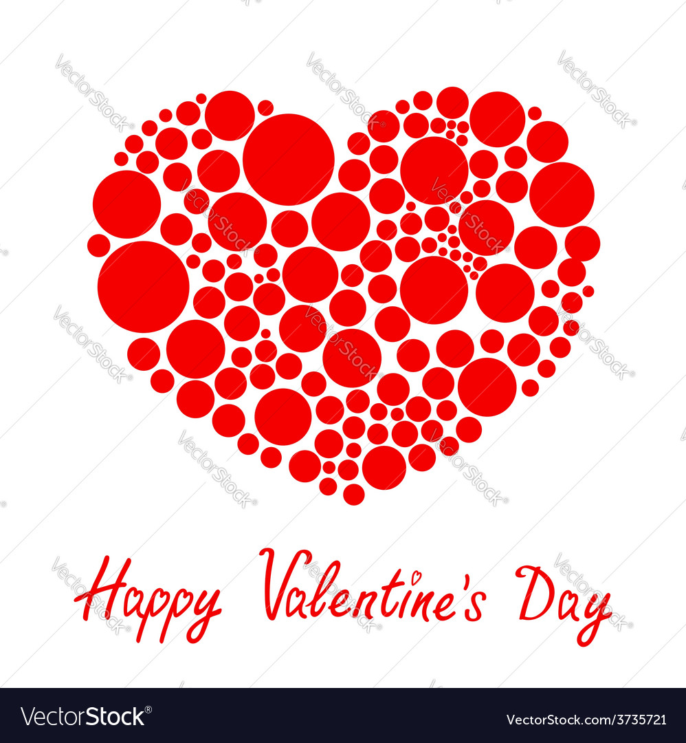 Red heart made from many round dots love card vector   Price: 1 Credit (USD $1)