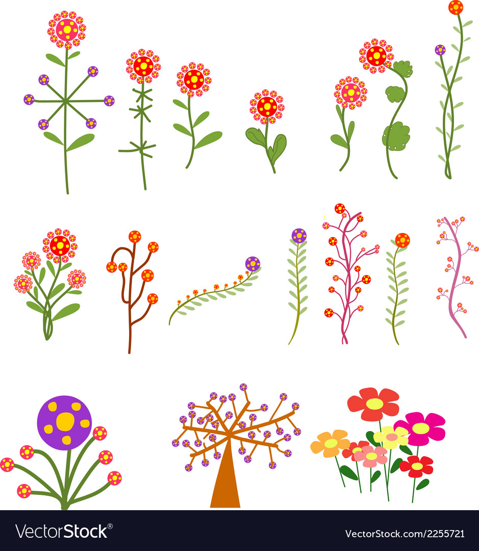 Set with vintage flowers vector | Price: 1 Credit (USD $1)