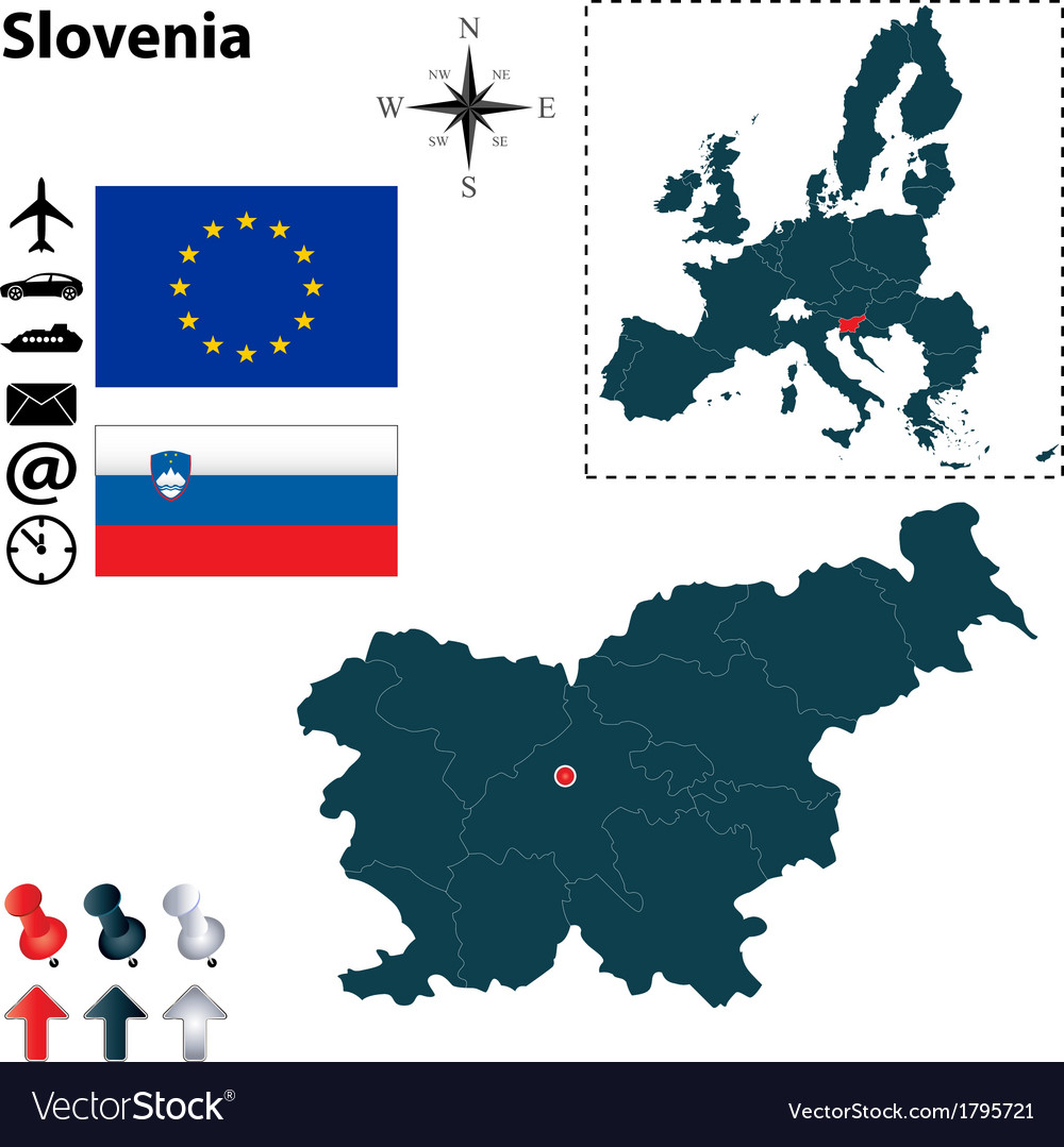 Slovenia and european union map vector | Price: 1 Credit (USD $1)