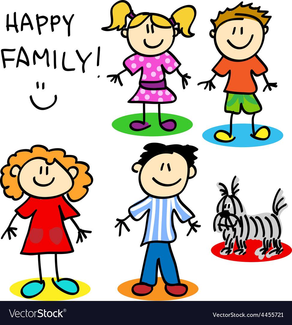 Stick figure family vector | Price: 1 Credit (USD $1)