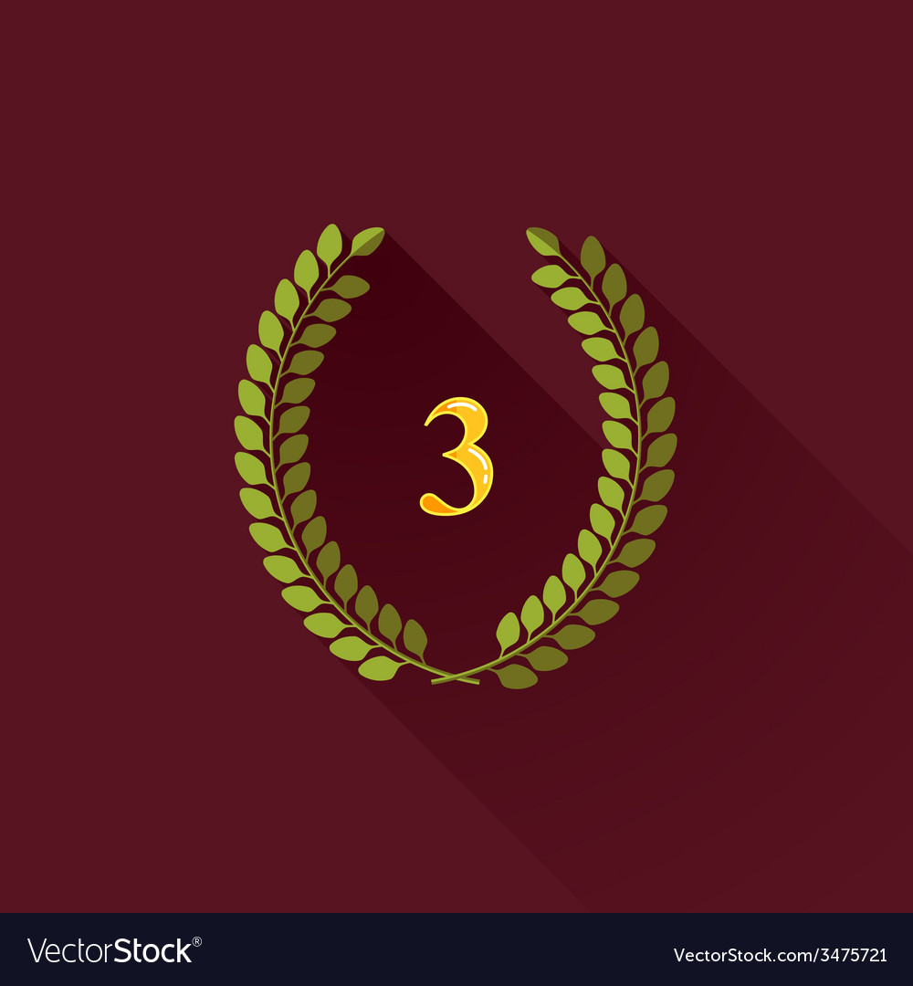 With laurel wreaths in flat design with long vector | Price: 1 Credit (USD $1)