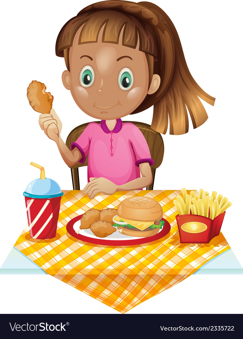 A girl eating at the fastfood store vector | Price: 1 Credit (USD $1)