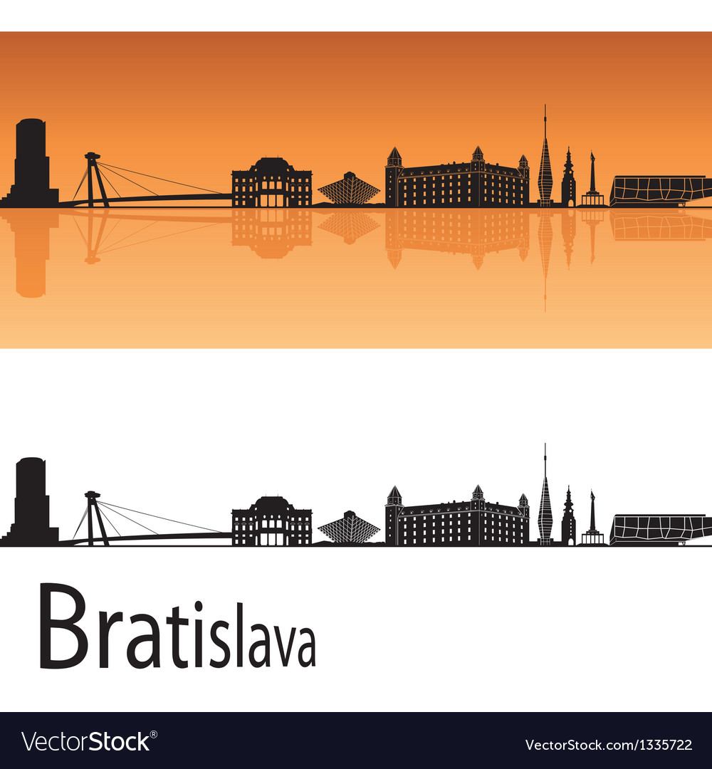 Bratislava skyline in orange background vector | Price: 1 Credit (USD $1)