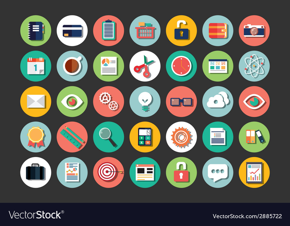 Collection of flat design icons cloud computing vector | Price: 1 Credit (USD $1)