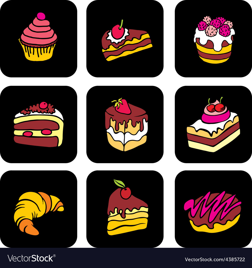 Icons with cake vector | Price: 1 Credit (USD $1)