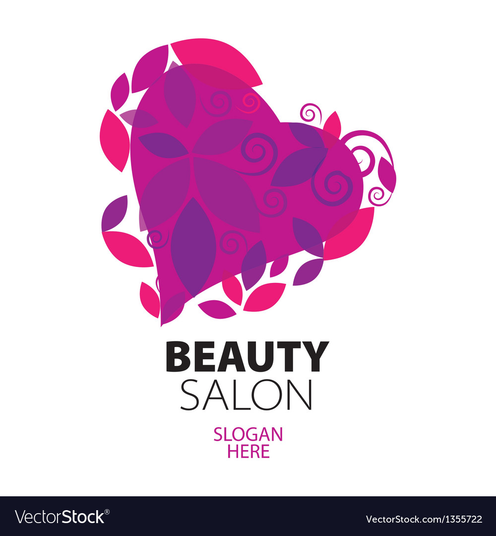 Logo heart of red leaves to the beauty salon vector | Price: 1 Credit (USD $1)