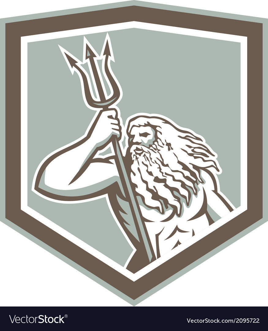 Neptune holding trident shield retro vector | Price: 1 Credit (USD $1)