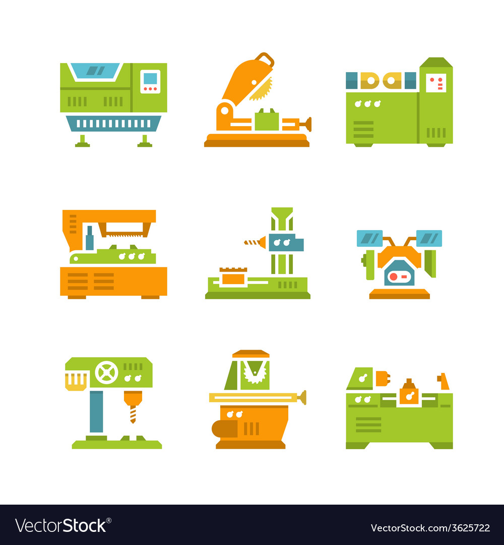 Set flat icons of machine tool vector | Price: 1 Credit (USD $1)