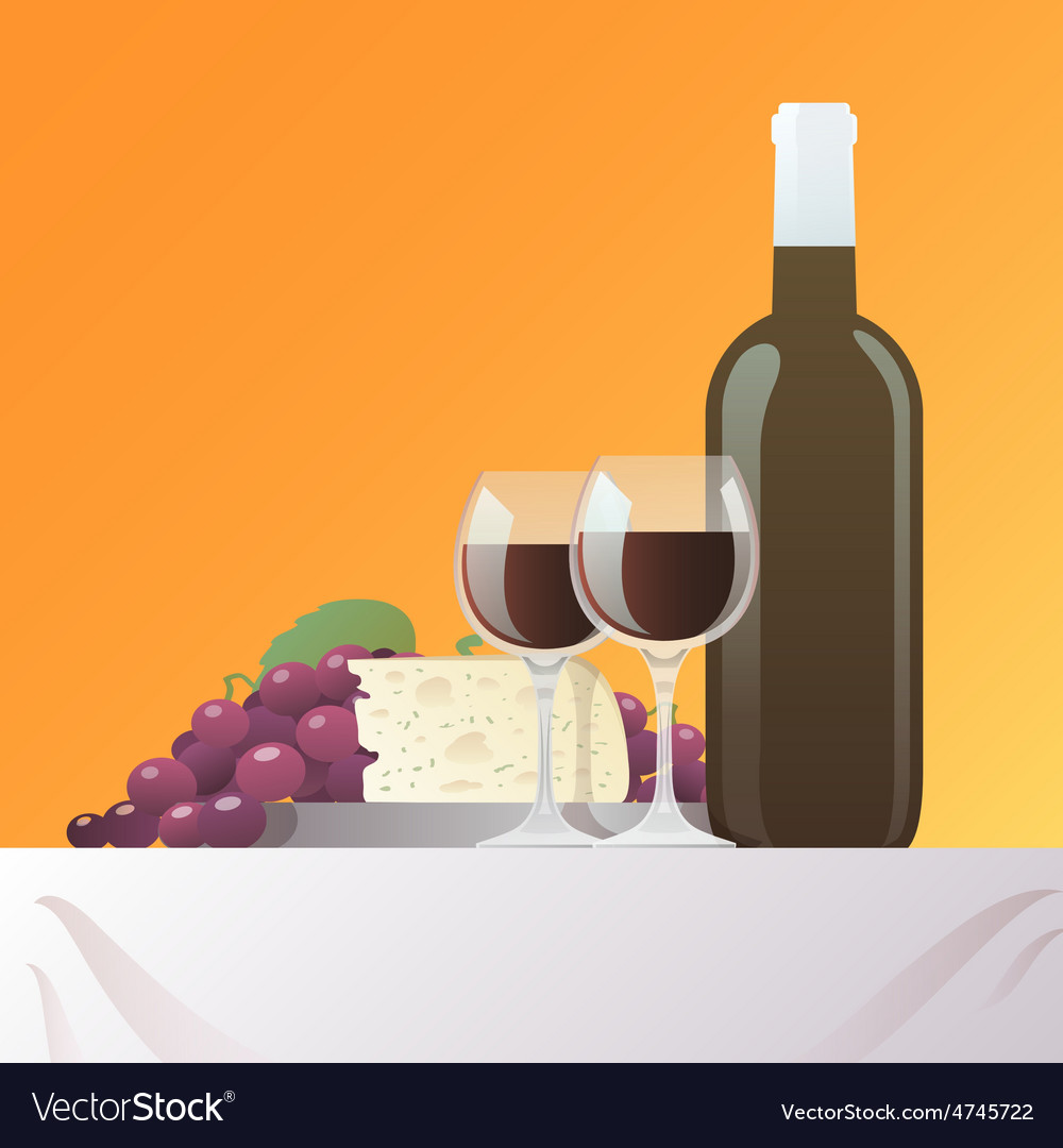 Wine and cheese still life vector | Price: 1 Credit (USD $1)
