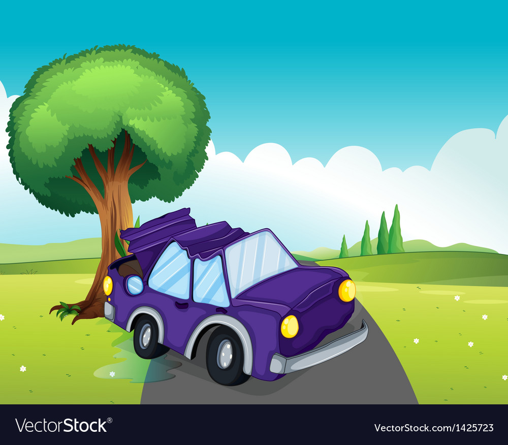 A violet car bumping the big tree at the road vector | Price: 1 Credit (USD $1)
