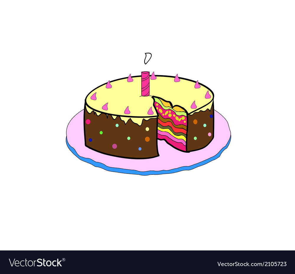 Birthday cake with colorful with lit candles vector | Price: 1 Credit (USD $1)