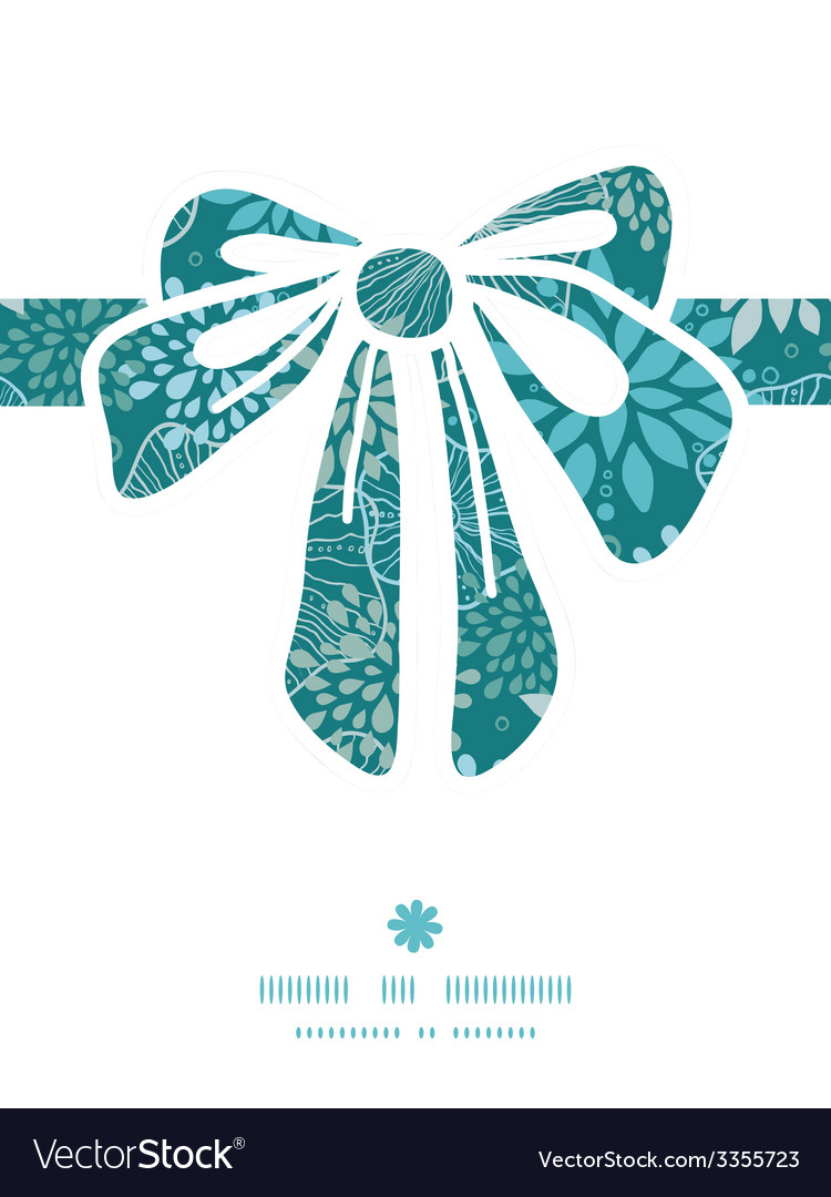 Blue and gray plants gift bow silhouette pattern vector | Price: 1 Credit (USD $1)