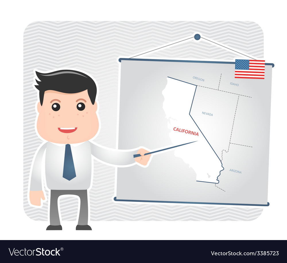 Man with a pointer points to a map of california vector | Price: 1 Credit (USD $1)