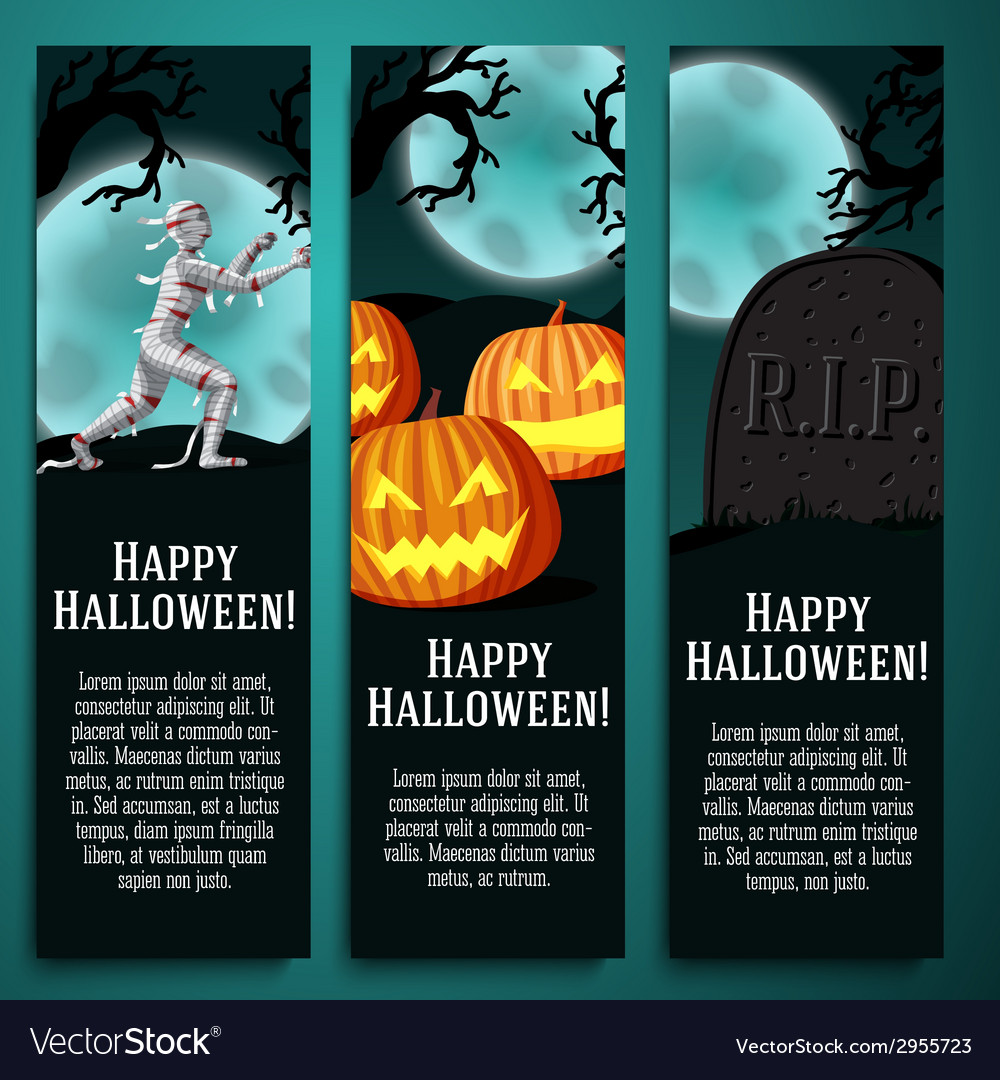 Set of halloween banners with mummy jack o lantern vector | Price: 1 Credit (USD $1)