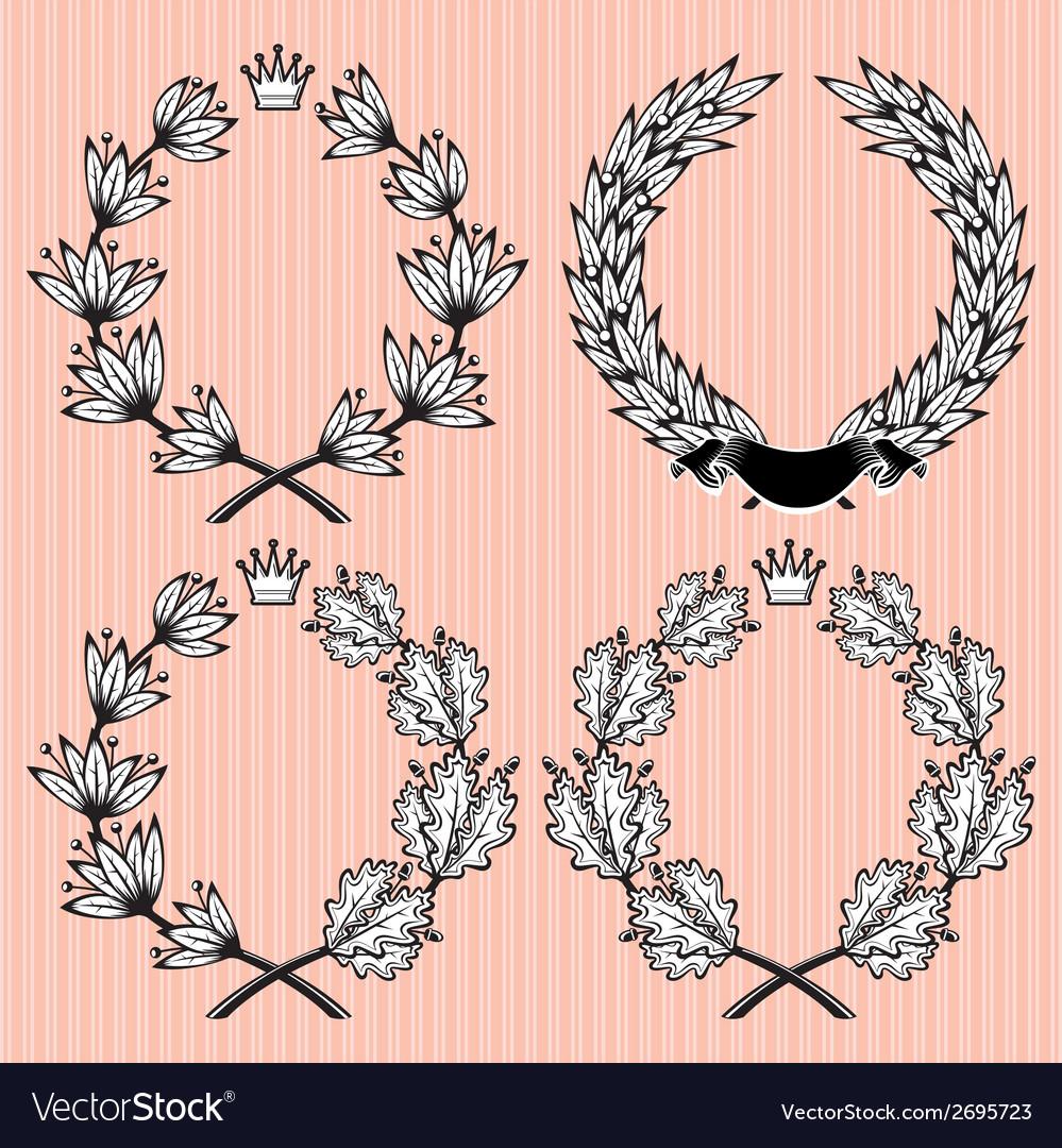 Set of wreath of laurel and oak leaves vector | Price: 1 Credit (USD $1)