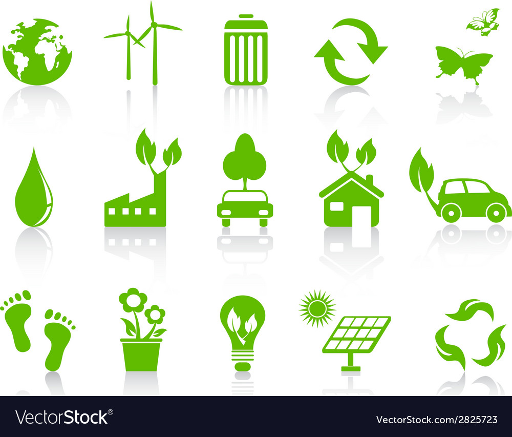 Simple green eco icons set vector | Price: 1 Credit (USD $1)