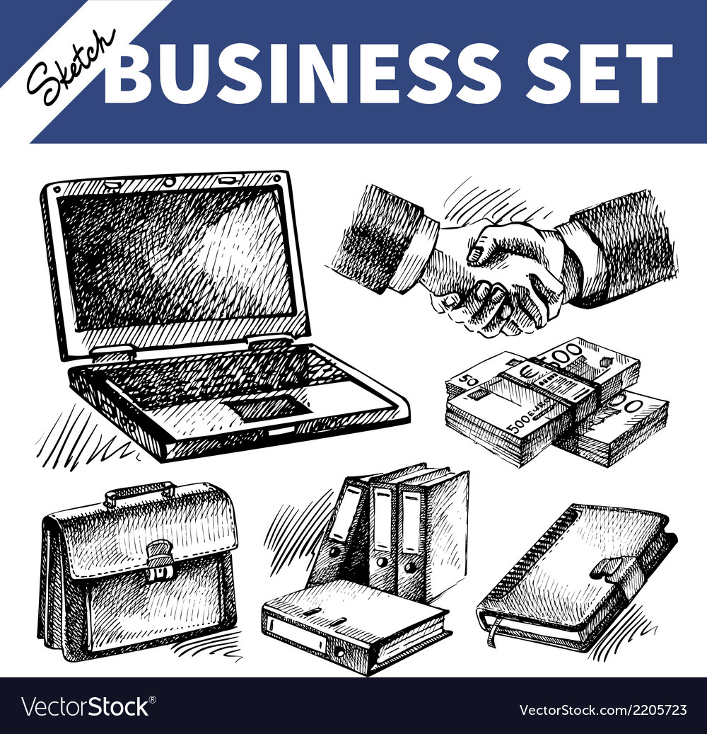 Sketch business set vector | Price: 1 Credit (USD $1)
