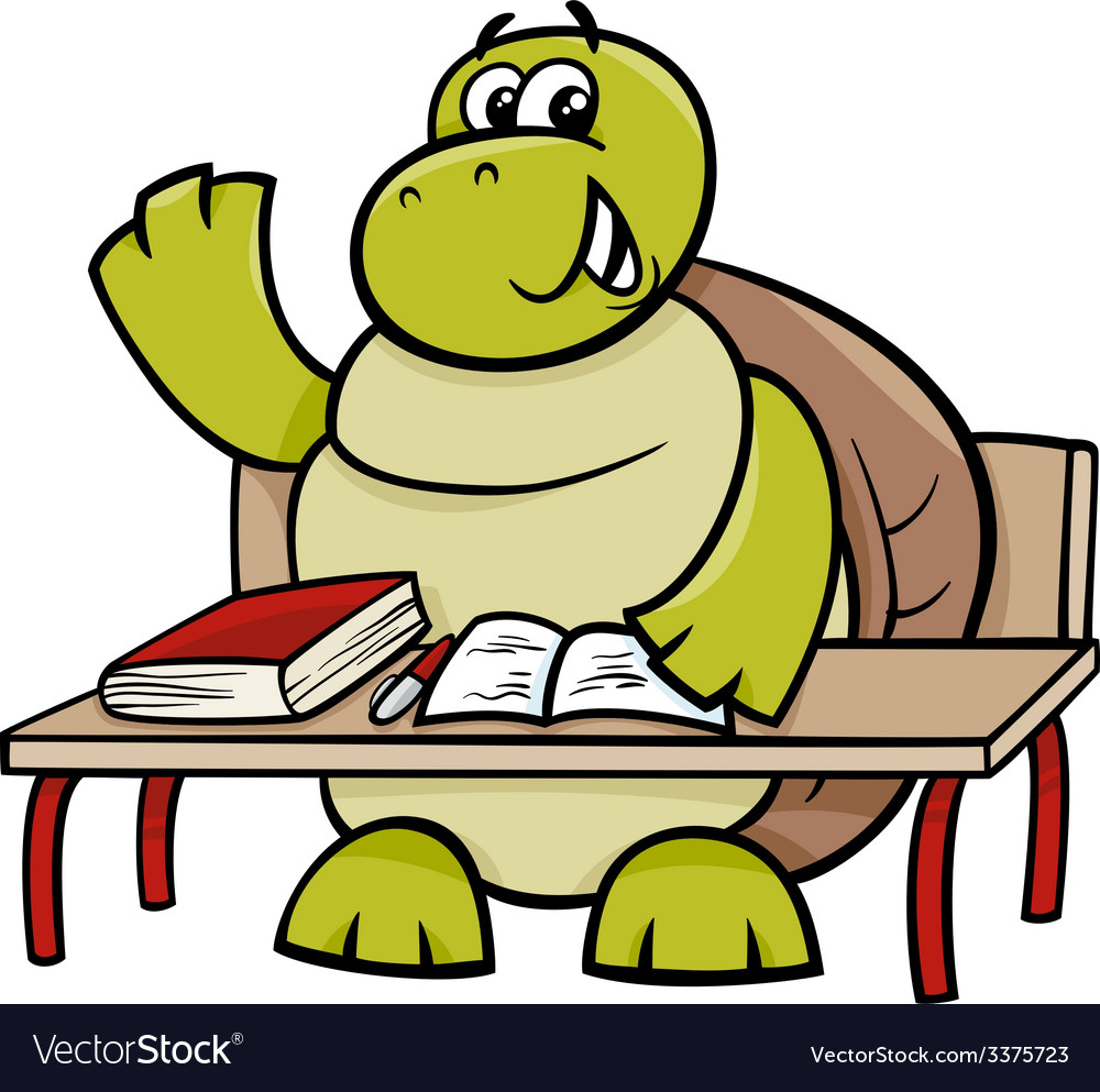 Turtle raising hand cartoon vector | Price: 1 Credit (USD $1)