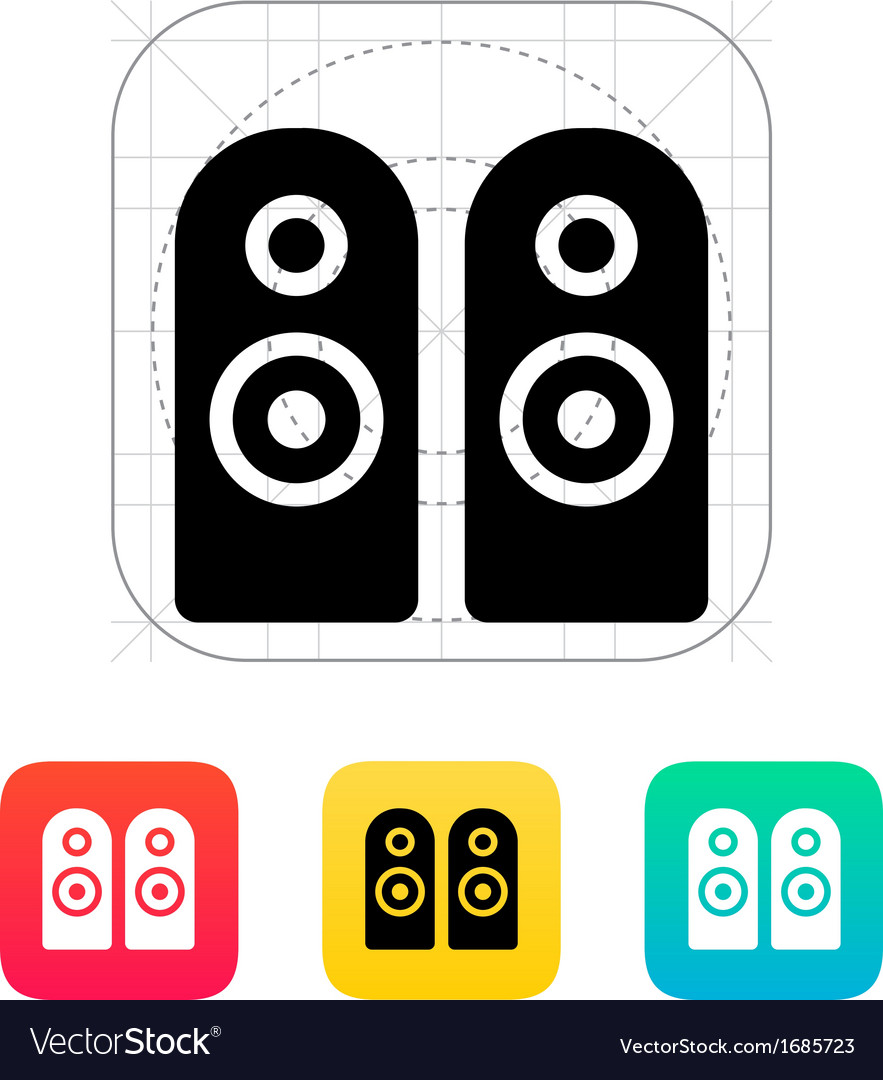 Two audio speakers icon vector | Price: 1 Credit (USD $1)