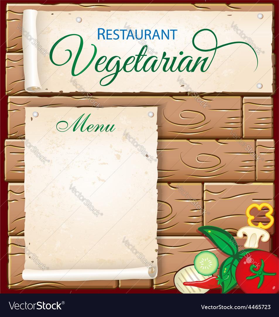 Vegetarian menu on wood background vector   Price: 1 Credit (USD $1)