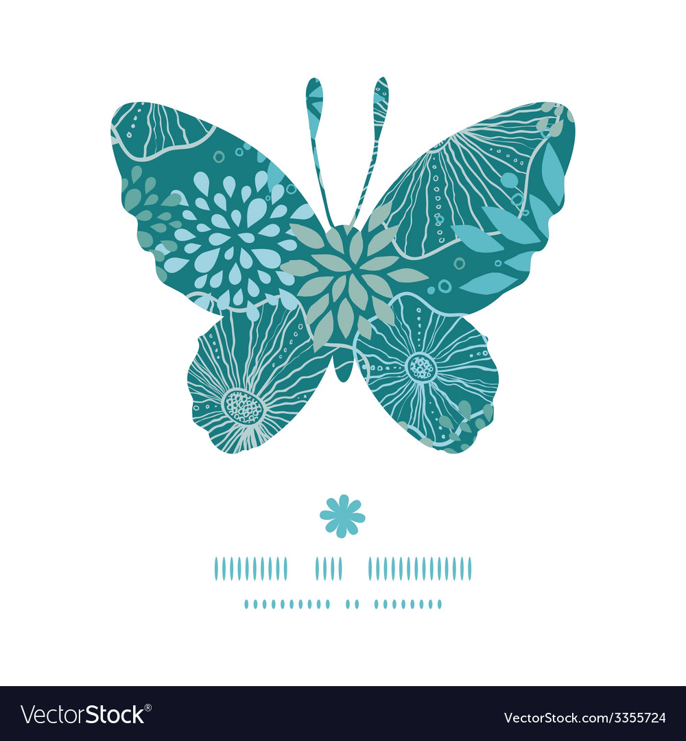 Blue and gray plants butterfly silhouette pattern vector | Price: 1 Credit (USD $1)