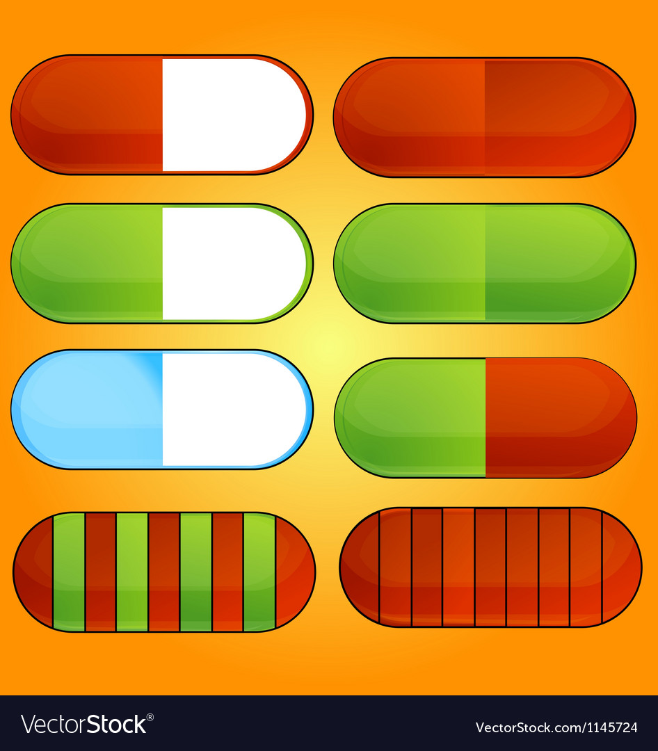 Colored and shiny medic pills set vector | Price: 1 Credit (USD $1)