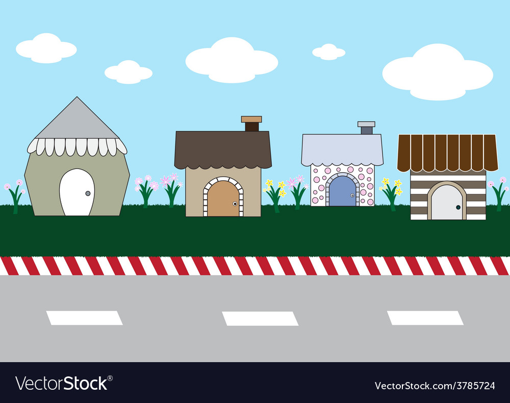 Cute cartoon homes on street1 01 vector | Price: 1 Credit (USD $1)