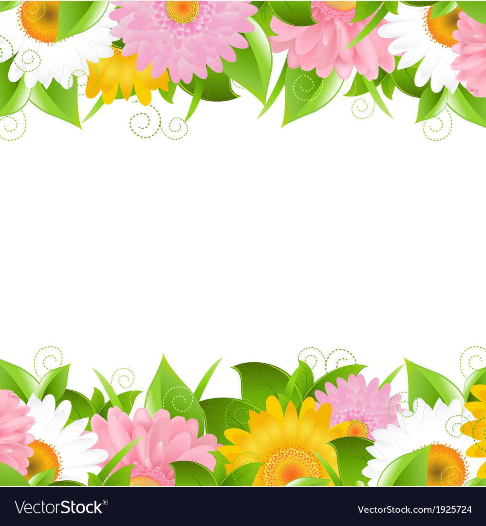 Flower and leaves border vector | Price: 1 Credit (USD $1)