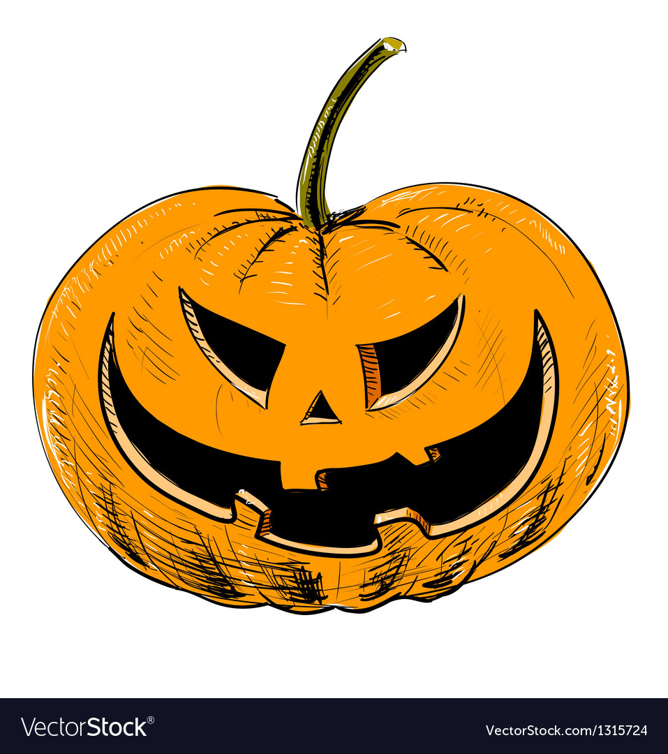 Halloween pumpkin with evil scary smile vector | Price: 3 Credit (USD $3)