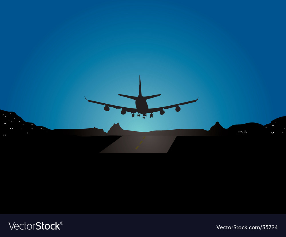 Plane landing vector | Price: 1 Credit (USD $1)