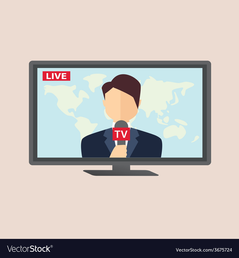 Professional news reporter in live broadcasting vector | Price: 1 Credit (USD $1)