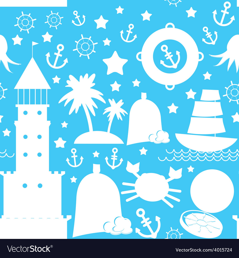 Seamless pattern white sea icon on blue background vector | Price: 1 Credit (USD $1)