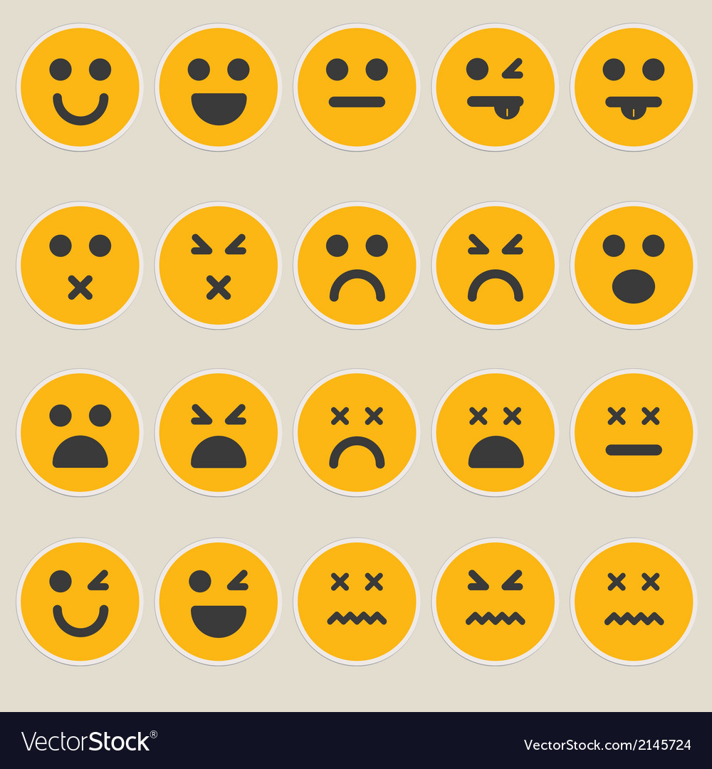 Set smileys emoticons vector | Price: 1 Credit (USD $1)