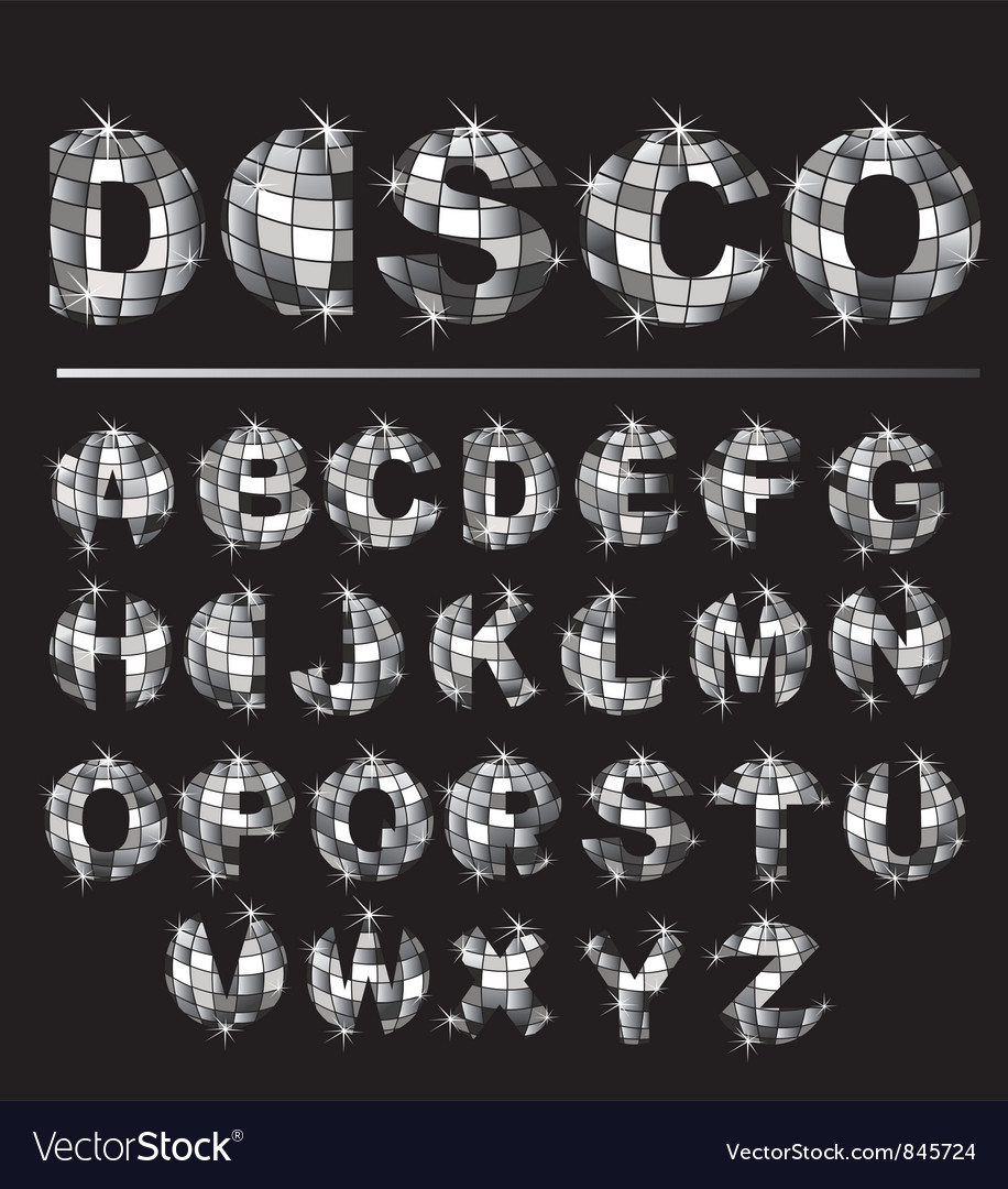 Silver disco ball letters vector | Price: 1 Credit (USD $1)