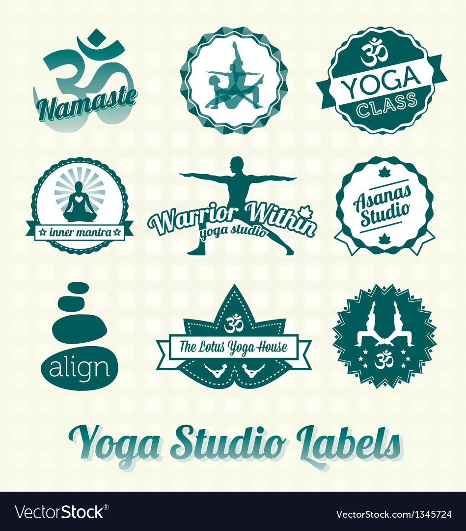 Yoga class labels and icons vector | Price: 1 Credit (USD $1)