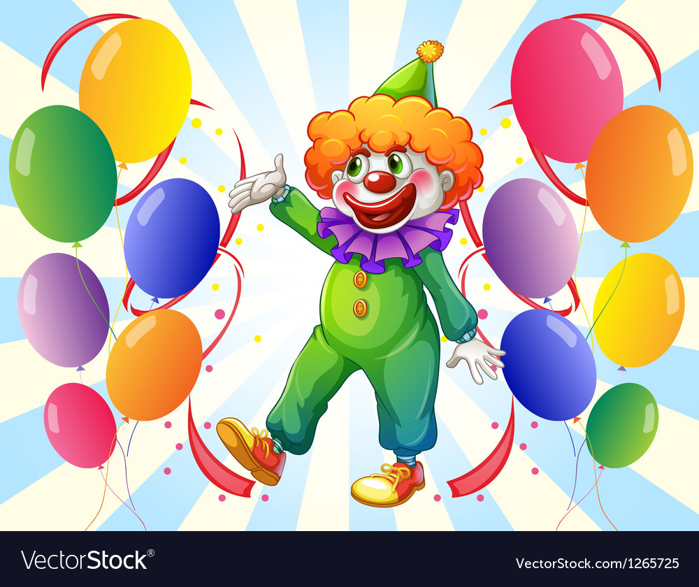 A male clown in the middle of the balloons vector | Price: 1 Credit (USD $1)