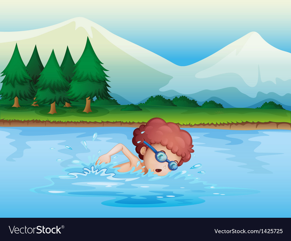 A small boy swimming vector | Price: 1 Credit (USD $1)