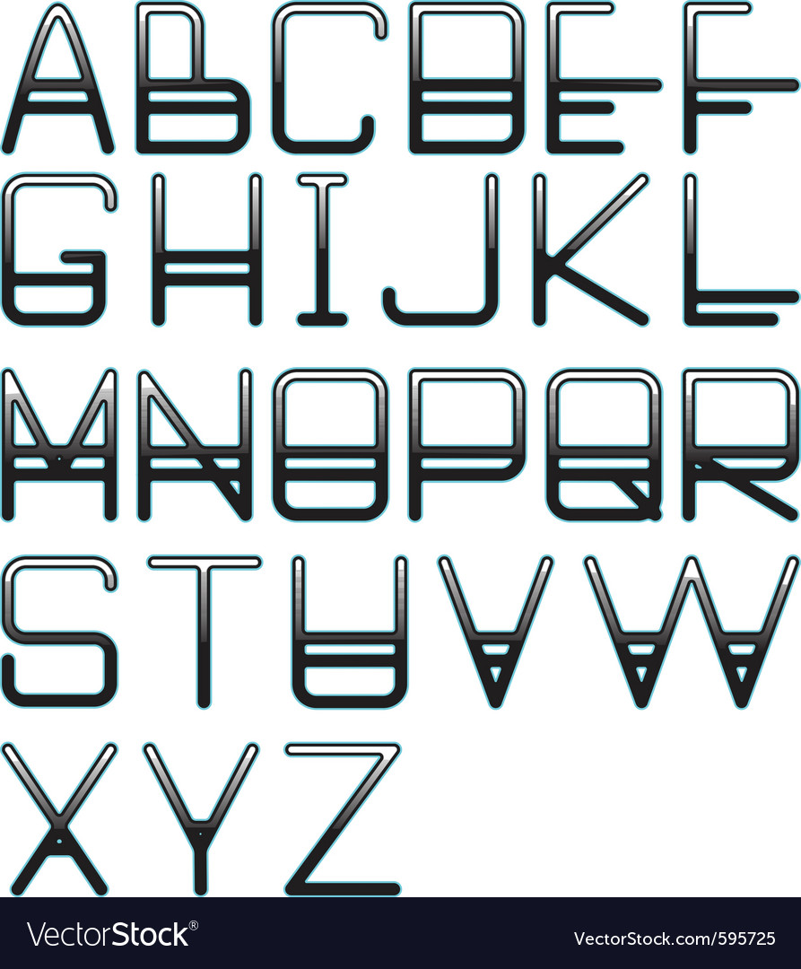 Blue glow alphabet vector | Price: 1 Credit (USD $1)