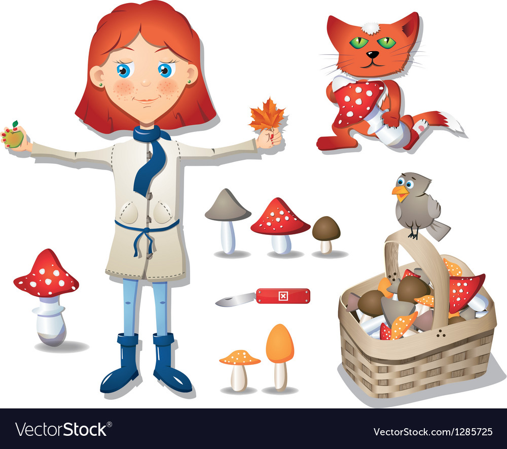 Cute little girl - mushroomer vector | Price: 1 Credit (USD $1)