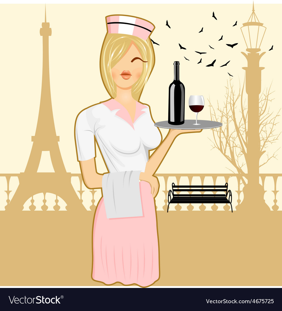 Cute waitress holding serving tray vector | Price: 1 Credit (USD $1)