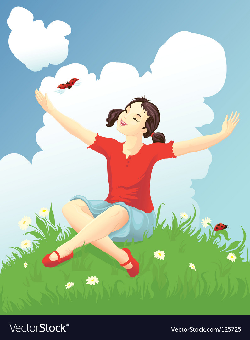 Girl with a ladybug vector | Price: 3 Credit (USD $3)