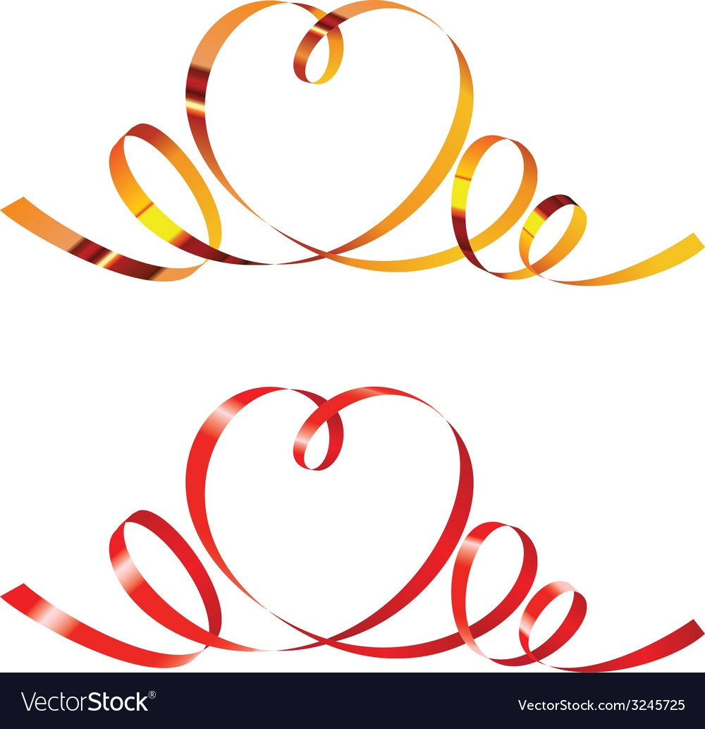 Gold and red curling ribbons in shape of heart vector | Price: 1 Credit (USD $1)