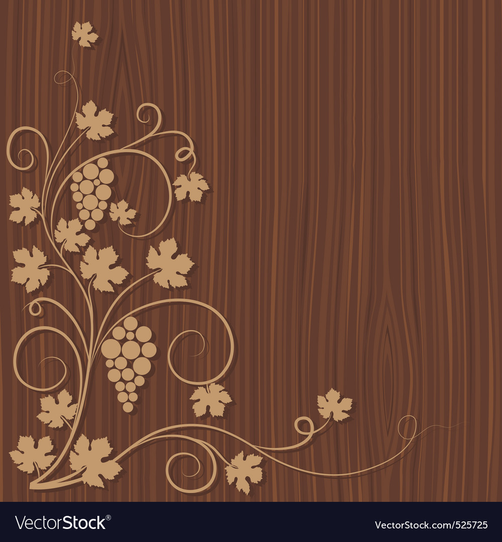 Grapes on a wooden background vector | Price: 1 Credit (USD $1)