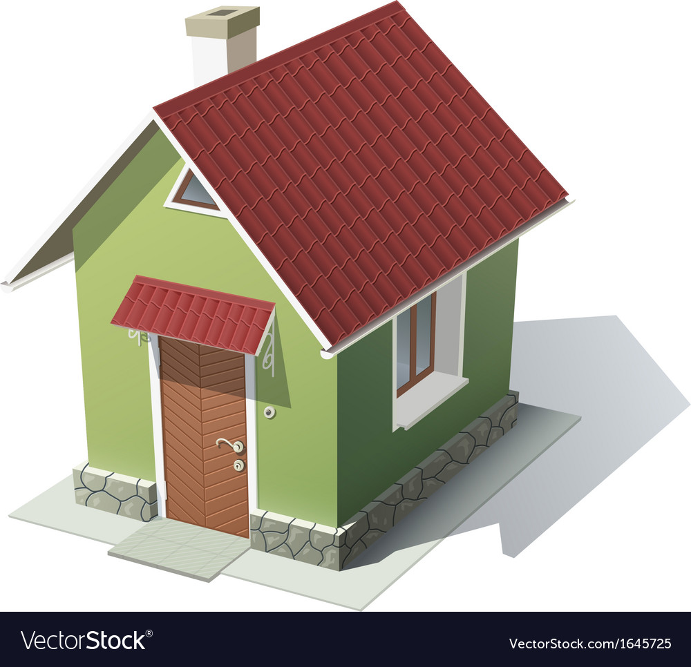Green house with red roof vector   Price: 1 Credit (USD $1)