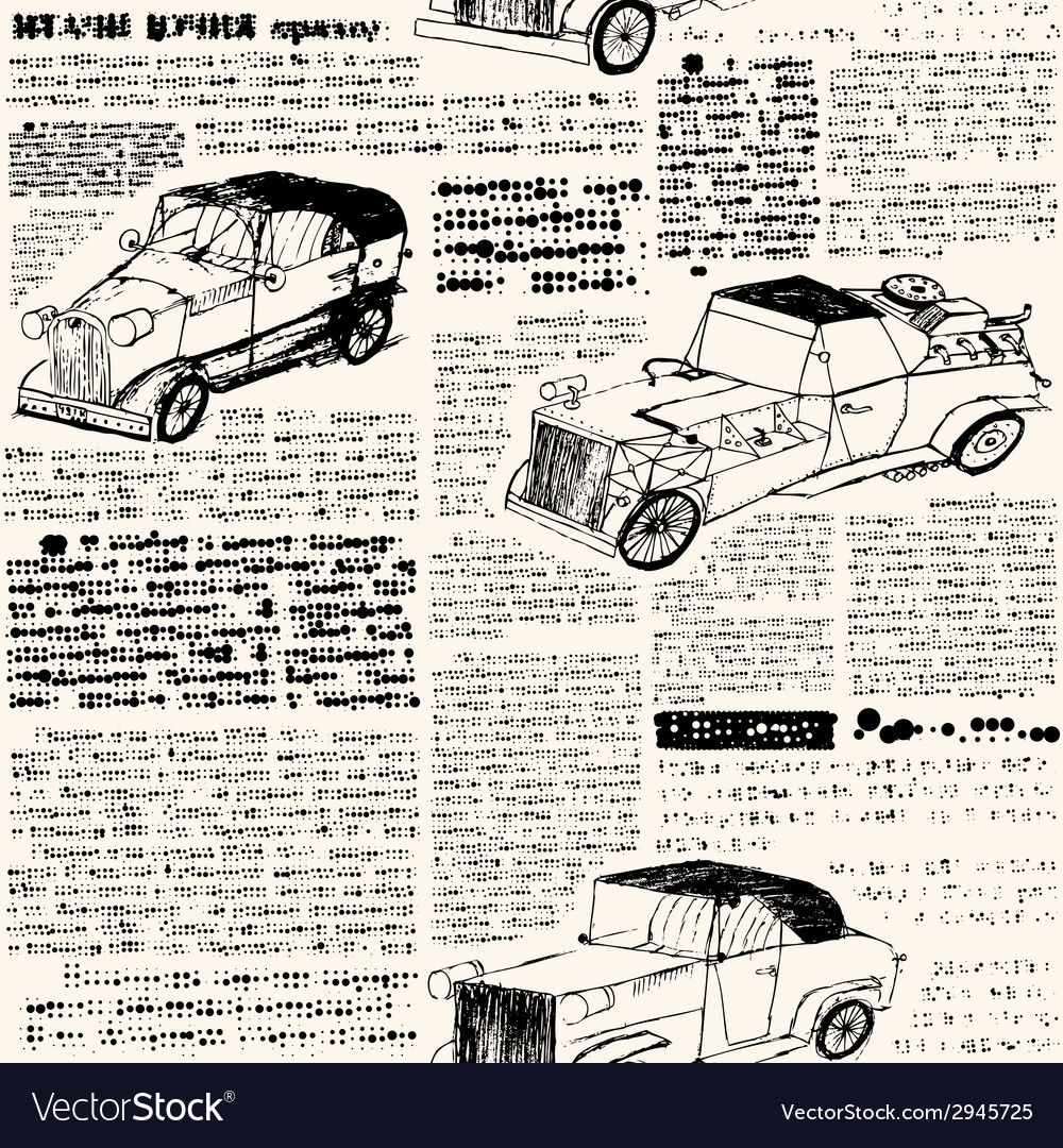 Imitation of retro newspaper with cars vector | Price: 1 Credit (USD $1)