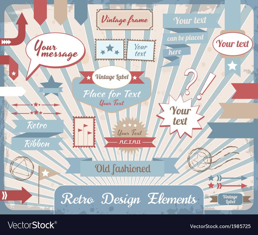 Set retro design elements vector | Price: 1 Credit (USD $1)