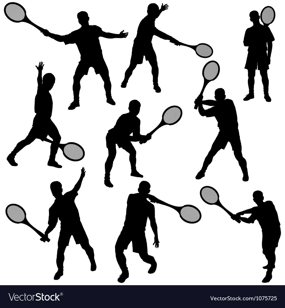 Tennis silhouette set eps10 vector | Price: 1 Credit (USD $1)