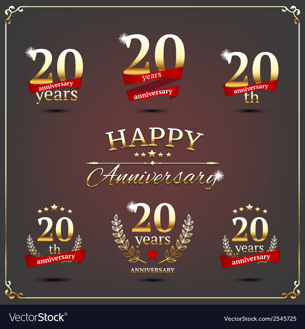 Twenty years anniversary signs collection vector | Price: 1 Credit (USD $1)